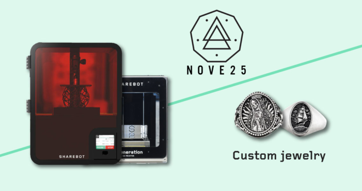 nove25 custom jewelry sharebot 3d printing